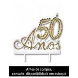 50 Anos Vela Especial P/ Festa E Bolo Aniversário Bodas Ouro