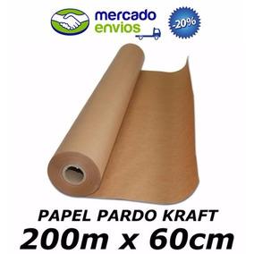 Papel Pardo Kraft 200m X 60cm 80g/m² Para Embalagem Caixas