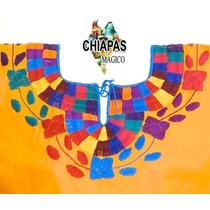Hermosa Blusa De Chiapas Bordada A Mano / Amarilla / Mediana