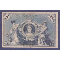 Alemania Imperio 1908 Billete 100 Marcos Usado Serie Verde