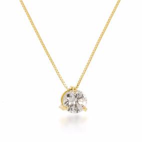 Cordão Feminino Banhado Ouro 18k Pedra Solitária Brilhante