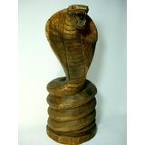 Grande Escultura Na Madeira Cobra Naja Antiga Bela E Rara