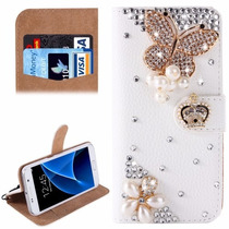 Funda Tipo Cartera Con Pedrería Para Samsung Galaxy S7 Dama