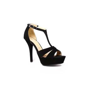 Trender Sandalia Negra Con Plataforma Frontal 9620106