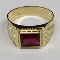 Anel Masculino Pedra Vermelha Zirconia Ouro 18k