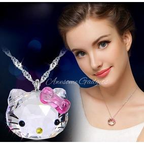 Bellisimo !! Original Collar Dije Hello Kitty Swarovski Amor