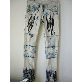 Calça Jeans Manchada, Com Tachas E Spikers, Punk Rock