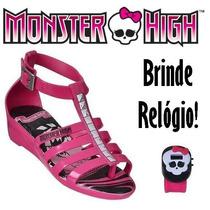 Sandália Monster High Hora Do Arrepio Brinde Relógio 21207