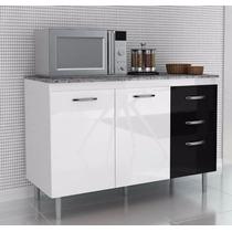 Balcão Gabinete Cozinha Branco / Preto Armario Madeira