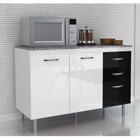 Balcão Gabinete Cozinha Branco E Preto Com 2 Portas B81