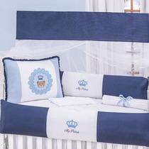 Kit Berço Príncipe Ursinho Menino Coroado Azul Marinho 10pçs