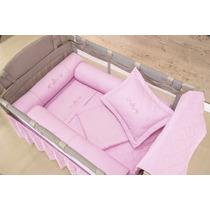 Kit Protetor De Berço Desmontável Com Saia De Berço Rosa