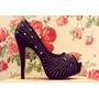 Zapatos Mujer Importados Plataforma Taco Negro Strass Plata