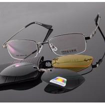 Armação P/ Óculos De Grau Em Titânio Memory Com 2 Clip-on
