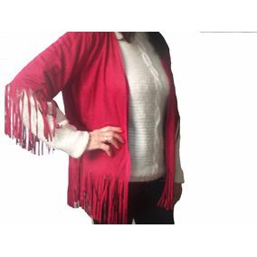 Kimono En Simil Gamuza Con Flecos Color Rojo Cod. R143