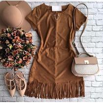 Vestido Maravilhoso Suede E Franjas Outono Inverno