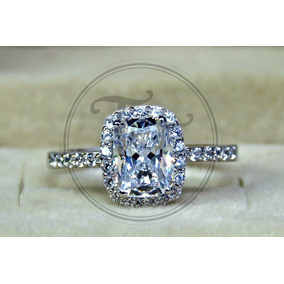 Anillo Compromiso Pt950 Sona Diamond 2 Ct Plata Ley 925