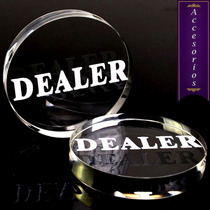 Boton Dealer Cristal 6cm Poker Texas Hold Em Repartir