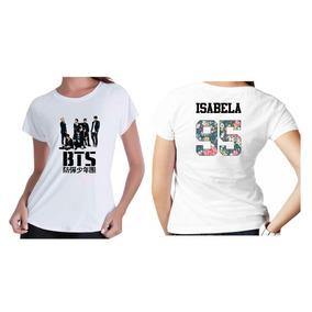 Camisetas Kpop Personalizada Banda Grupo Bts Seu Nome Flor 3