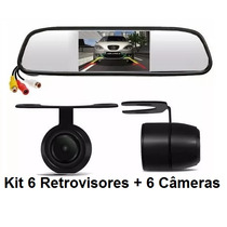 Kit 6 Espelho Retrovisor Monitor Tela 4.3+6 Câmeras Ré K57