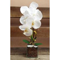 Arranjo Artificial Orquídea Organza Com 1 Galho Vaso Vidro
