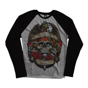Camiseta Blusa Manga Longa Raglan Cinza Caveira Skull