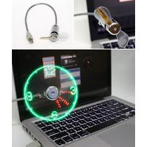 Ventilador Usb Luz Led Proyecta Reloj Con Segundero ¡genial!