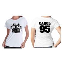 Camisetas Camisa Kpop Personalisada Grupo Bts Com Seu Nome