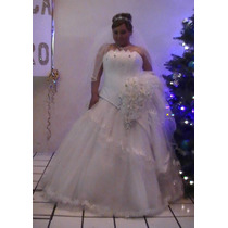Hermoso Vestido De Novia Blanco Mediano Moderno Un Uso