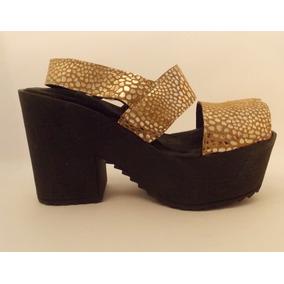 Zapatos Dorados Cuero