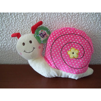 Caracol De Pelúcia Branco Com Casco Rosa