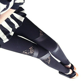 Legging Encaje Cuero Aplicaciones - Leblanc Store