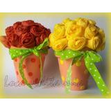Centros De Mesa En Macetas Flores De Tela X 10