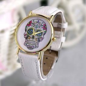 Relógio Caveira Mexicana Flores (branco) - Pronta Entrega