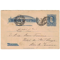Brasil Bilhete Postal Bp-15 Circulado Para O Rj Em 1893