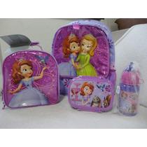 Mochila Princesa Sofia + Lancheira + Garrafinha 3 Pç Disney