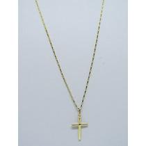 Cordão Cartier Masculino + Pingente Cruz Ouro 18k 750