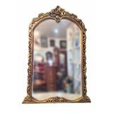 Espelho Moldura Em Madeira Folheada A Ouro