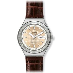 Swatch Quaterman Ironía Del Cuero De Brown Del Reloj Para