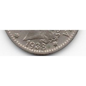 Moneda Argentina Antigua 5 Ctvs.1938 Con Falla Cuño.muy Buen