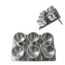 Porta Temperos Magnético Inox - 6 Peças Com Base