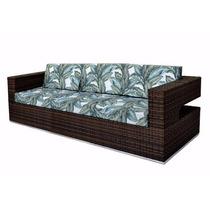 Sofá Em Fibra Sintética E Aluminio 03 Lugares Moderno
