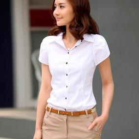 Camisas Blusas Ejecutivas Casuales Blancas Corta