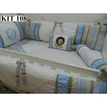 Kit Berço Personalizado 10 Pçs Provençal Leão Azul C/ Marrom
