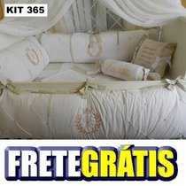 Kit Berço Personalizados 10 Pçs Provençal Coroa Bege