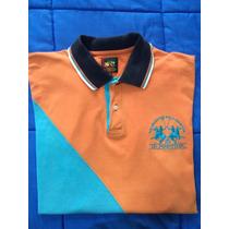 La Martina Polo Dos Homens Camisa Laranja Original