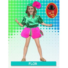 Disfraz De Flor. Completo! Pollera Blusa Y Vincha Talle 0