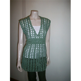 Vestido Camisola Remerón Sobre Remera Crochet Hilo Mujer