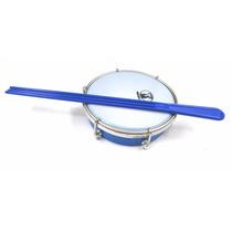Tamborim Azul De Abs 6 Pol + Baqueta Tripla Forte Música