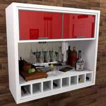 Barzinho Adega Cristaleira Vidro Reflecta Vermelho - Bar07b